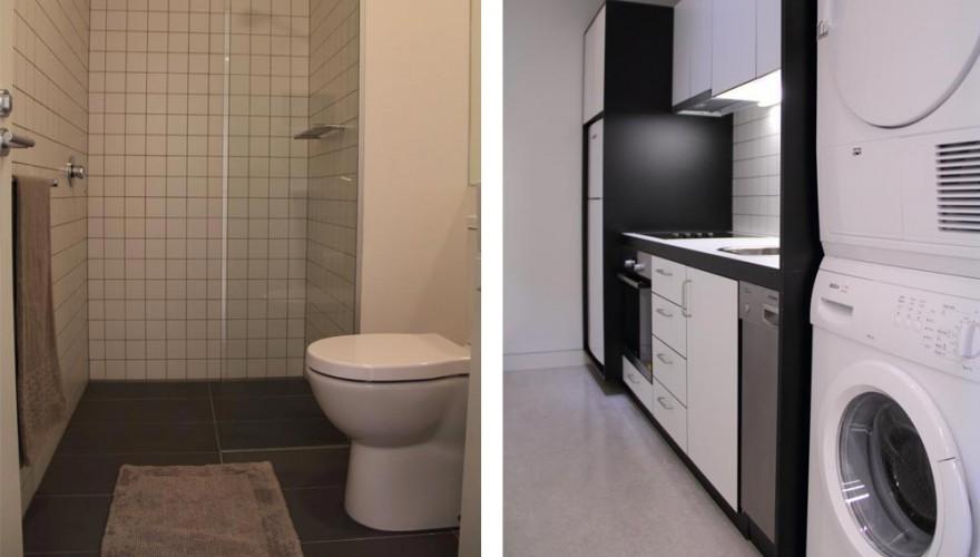 Artist apartment bathroom and kitchen