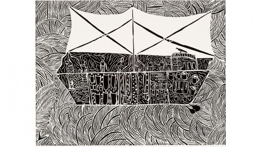 'The-Maccasan Prahu' linocut by Dhuwarrarr Marika